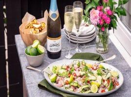 pescados para ceviche con vino blanco