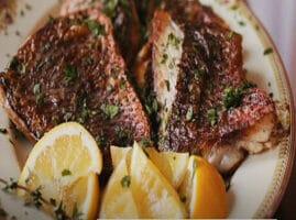 Filetes de pescado asados con mantequilla